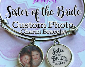 Sister-of-the-Bride Gift, Personalized Photo Charm Bracelet, Sister Wedding Gift, Photo Gift for Sister, Unique Gifts, Bridal Shower Gift