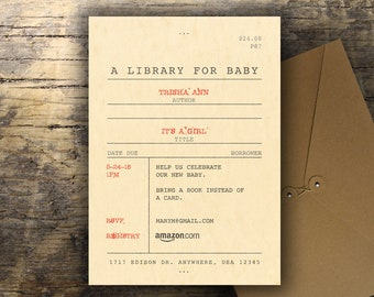 Library Baby Shower Invitation; Vintage Library Catalog Card; Build a Library Baby Shower; Printable