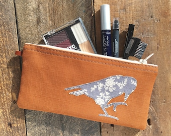 Raven Pouch, Pencil pouch, Small Zipper Pouch, Cosmetic Pouch, Tampon Bag, Gift for bird lover, for her, gift for sister, zip bag