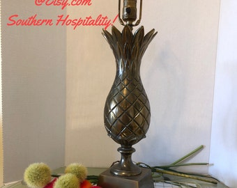 """BRASS PINEAPPLE LAMP,  Vintage Lighting, Southern Decor, 29.5"""" H, Chinoiserie, Tropical, Hospitality, Welcome Sign at Ageless Alchemy"""