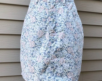 Vintage 90s Floral High Waisted Denim Pencil Skirt, Vintage Jean Skirt, 90s Grunge, Retro Skirt, 90s Women's Clothing, Size 30
