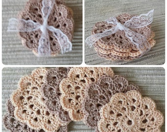 Crocheted Coasters 6 Pack (beige-Apricot)-Crochet undersetters 6 pieces (beige-Apricot)