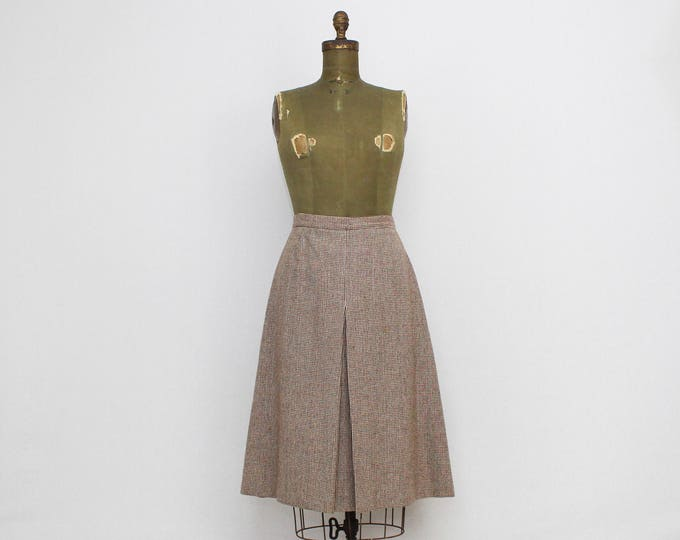 Vintage 1970s Wool Tweed A-Line Skirt - Size Medium