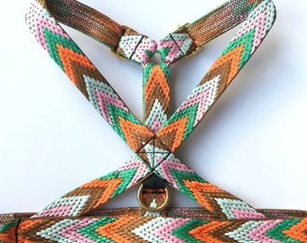 Small - Large dog harness: Woven colourful herring bone pattern design. Boho style. adjustable. choose between orange/green or purple/yellow