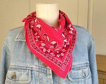 50s 60s Arts & Crafts red bandana, Fast Color, 15234, selvedged edge, 20x22