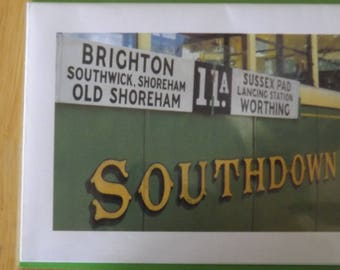 Southdown Vintage Tram Bus. Shoreham-worthing-brighton. Blank Greetings Card