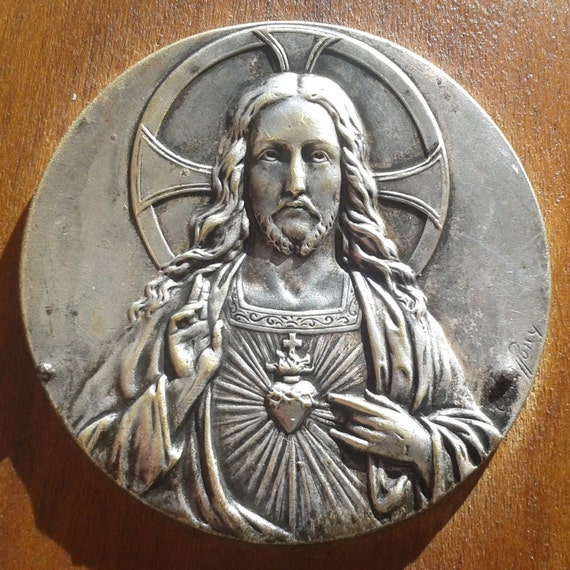 Heart Of Jesus Water Font French Antique Wood Frame Signed Carved Jesus Medal Angel and Dove Font #sophieladydeparis