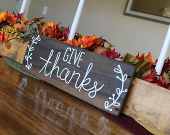 Give Thanks Sign | Thanksgiving Sign | Small Give Thanks Sign | Farmhouse Style Thanksgiving Sign | Fall Sign | Fall Farmhouse Sign