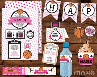 Pink Basketball Birthday Girl's Party Package Invitations & Decorations Full Printable Collection INSTANT Download Editable Text Personalize