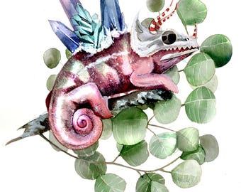 Chameleon Skull Eucalyptus Crystals Watercolor Art Print Nature