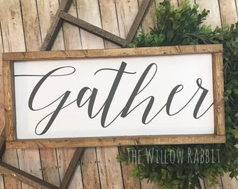 Gather | Gather Sign | Farmhouse Decor | Gather Here | Wood Gather Sign | Rustic Gather Sign