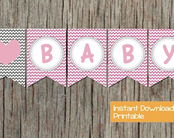 INSTANT DOWNLOAD Printable Baby Shower Banner Gum Pink Grey Chevron Oh Baby DIY Girl Baby Shower Party Supplies Decorations Banner 006
