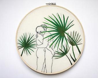 "Embroidery art ""Green"" / Embroidery hoop art / Gay art"