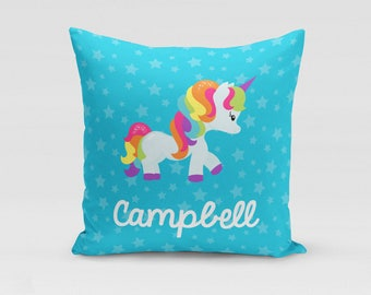 Unicorn Throw Pillow Cover - Blue Personalized Twill Pillowcase - COVER only - Custom Nursery Decor - Gift for Kids