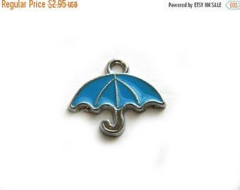 HALF PRICE 4 Blue Enamel Umbrella Charms