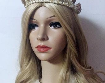 Mermaid Crowns, Shell Tiara, Pearl Wedding Tiara, Beach Wedding Tiara, Mermaid Tiara, Seashell tiara, Gold Tiara, Crystal Beach Tiara
