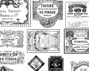 20 Antique Perfume Labels - 20 different designs - 2 A4 digital collage sheet - Instant Download
