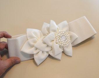Chiffon Flower cinch belt, Wide elastic stretch corset belt,Ivory belt, Red corset belt, dressy belt, wedding belt, Hollywood