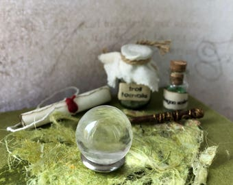 Miniature gazing ball for dolls house witch or wizard, 1:12 scale, magical diorama or fairy house, crystal ball, glass ball