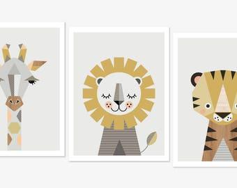 "A3 or 11 x14"" Giraffe Lion and Tiger prints, Series of three prints, safari prints, nursery art,kids wall art, nursery decor,nursery prints."