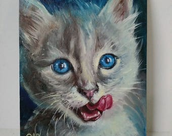 Cat - lover - gift for wife Cute pet portrait oil painting Cat portait painting nursery wall decor girl Animal artwork canvas Blue decor art