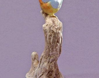 Handmade Ceramic Blue Bird on a Tree - Bird Sculpture, Bird Figurine, Blue Bird, Nature