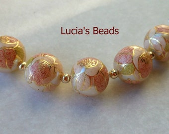 A Beautiful Set of (5) Japanese Tensha Beads in Pink Blossom on Pearl 12 MM