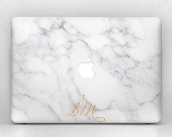 MacBook Marble Case Monogram Custom Gold Mac 12 13 15 11 in Pro Retina Air skin decal  A1706 A1707 A1502 2016 2017 2015 2012 A1534 keyboard