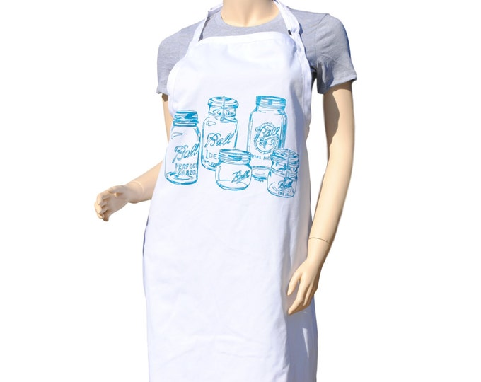 Kitchen Apron - Teal Mason Jar Apron - Crafting Apron - Baking Apron - BBQ Apron - Gifts for Sister - Gifts for Mom - Birthday Gift