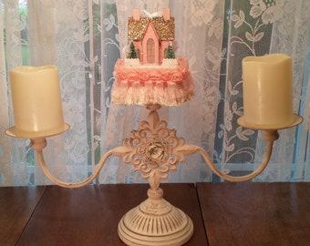 Pink Castle Decorative Tassel Pink White Trim for Candelabra Mantel Tabletop Swag Wreath Centerpiece Princess Bride Chapel Theme Decor