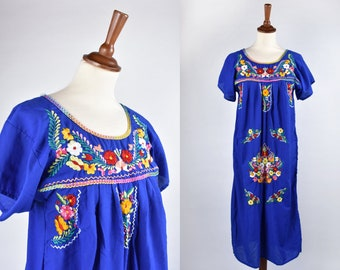 Long Mexican Cobalt Blue Dress with Embroidered Chest and Sleeves
