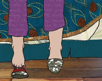 Collage Illustration - Feet with Sparkly Slippers and Pajamas - Peacock Pattern - Matted Art Print