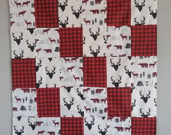 Baby toddler buck buffalo plaid hunter animals woodland bears moose deer minky Cotton quilt