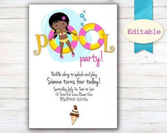 EDITABLE Pool Party Invitation, African American Girl invitations, Brown Skinned Cute Girl Pool Party Invitation, Black haired Girl Birthday
