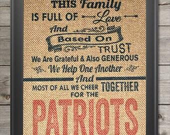 Patriots art etsy new england patriots super bowl champs burlap print wall art 8x10 fan cave decor malvernweather Gallery