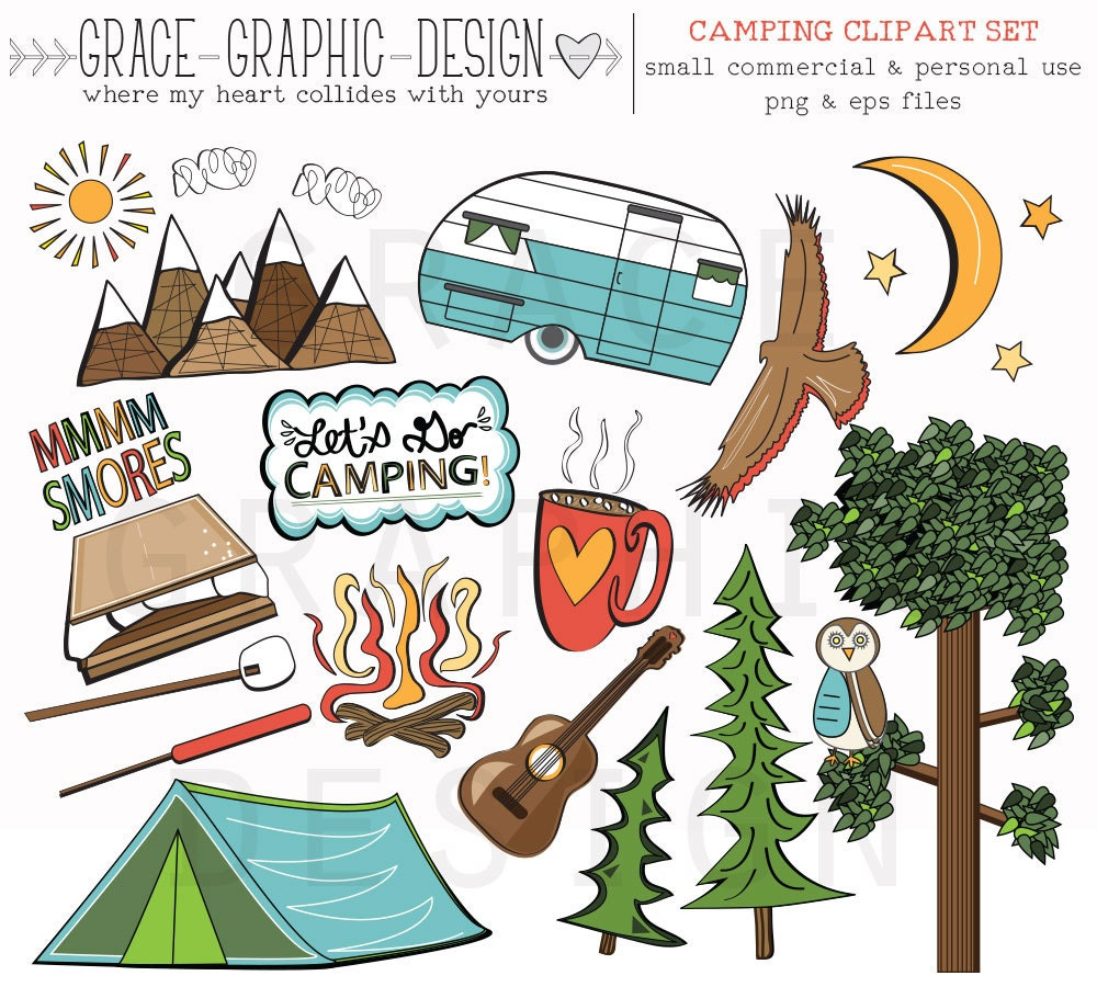 CAMPING CLIPART Wohnmobil Clipart Natur Digitale