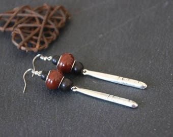 Long earrings ethnic Bohemian silver glass Pearl Brown, ebony wood