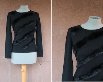 1990's Cotton and Angora Sweater - 90's Fur Sweater #1695