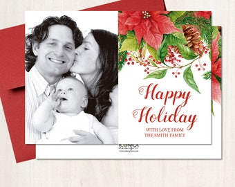 Holiday Photo Cards, Floral Poinsettia Cards, Festive Photo Cards, Printed Or Printable File, Free Shipping