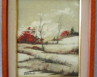 Canadian  Signed  Painting by RAYMOND CALLEBAUT  1980s Rural Country Winter Scene  Original