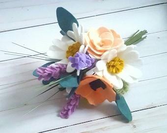 spring bouquet, spring flowers, felt wildflower bouquet, spring felt wedding bouquet, wedding bouquet, wildflower bouquet, modern boho
