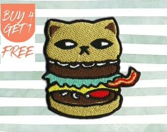 Cat Patch Hamburger Patches Iron On Patch Embroidered Patch Burger Bacon