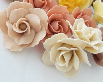 24 Miniature Roses Handcrafted Polymer Clay Art, pale peach and cream