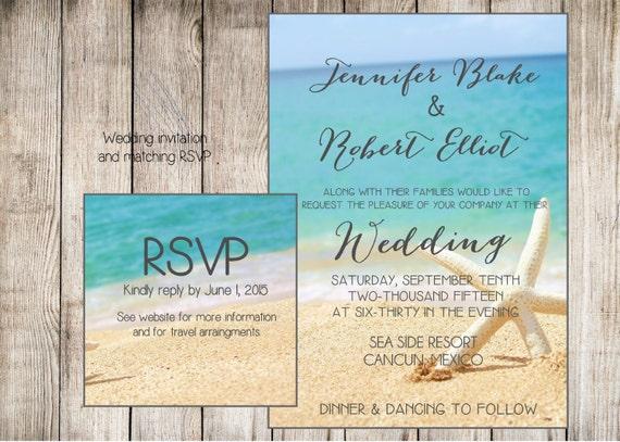 Printable Beach Wedding Invitations: Items Similar To Beach Wedding Invitation. Starfish And