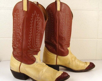Tony Lama Boots Men's size 12 Boots Vintage 1980s Brown Western Boots Men's Cowboy boots