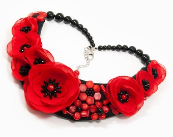 PASSION - statement necklace, floral necklace, red necklace, poppy necklace, flower necklace, coral necklace