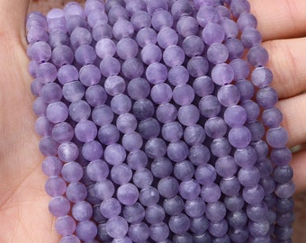 6mm sage amethyst, matte amethyst, frosted amethyst, amethyst beads, round beads, gemstone beads, 6mm purple beads,