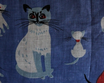 Cats Novelty Print Hanky by Tammis Keefe - 1950s Handkerchief - Pink Blue White - Feline Kitty Cat - Poor Condition - Frameable - 47500