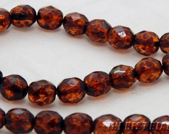 30pcs Dark Topaz Travertine Faceted Round Czech Glass Fire Polished Beads 8mm