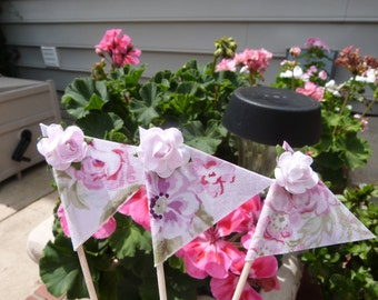 Cupcake Flags - 12 Fabric Shabby Cupcake Chic  Wildflower Rose Ashwell Floral - Cake Toppers